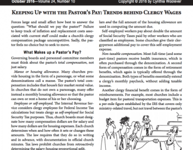 Oct – Keeping Up with the Pastor's Pay