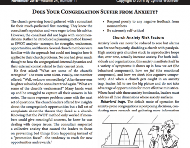Nov – Does Your Congregation Suffer from Anxiety?