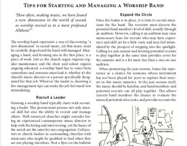 May – Tips for Starting and Managing a Worship Band