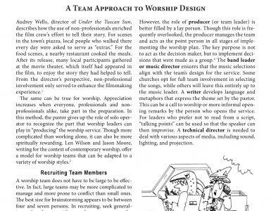 September – A Team Approach to Worship Design